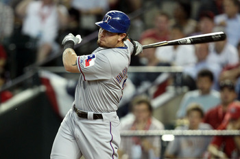 PHOENIX, AZ - JULY 12:  American League All-Star Josh Hamilton #32 of the Texas Rangers breaks his bat on a single in the fourth inning of the 82nd MLB All-Star Game at Chase Field on July 12, 2011 in Phoenix, Arizona.  (Photo by Christian Petersen/Getty