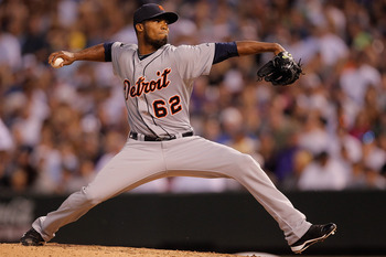 DENVER, CO - JUNE 18:  Relief pitcher Al Alburquerque #62 of the Detroit Tigers works the seventh inning against the Colorado Rockies at Coors Field on June 18, 2011 in Denver, Colorado.  (Photo by Justin Edmonds/Getty Images)