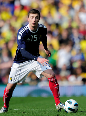LONDON, ENGLAND - MARCH 27:  Danny Wilson of Scotland on the ball during the International friendly match between Brazil and Scotland at Emirates Stadium on March 27, 2011 in London, England.  (Photo by Jamie McDonald/Getty Images)