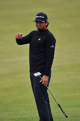 SANDWICH, ENGLAND - JULY 12:  Jason Day of Australia reacts during the second practice round during The Open Championship at Royal St. George's on July 12, 2011 in Sandwich, England. The 140th Open begins on July 14, 2011.  (Photo by Stuart Franklin/Getty