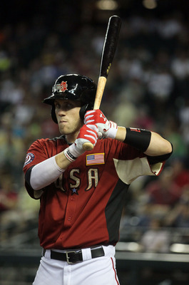PHOENIX, AZ - JULY 10:  U.S. Futures All-Star Bryce Harper #34 of the Washington Nationals at bat during the 2011 XM All-Star Futures Game at Chase Field on July 10, 2011 in Phoenix, Arizona.  (Photo by Jeff Gross/Getty Images)