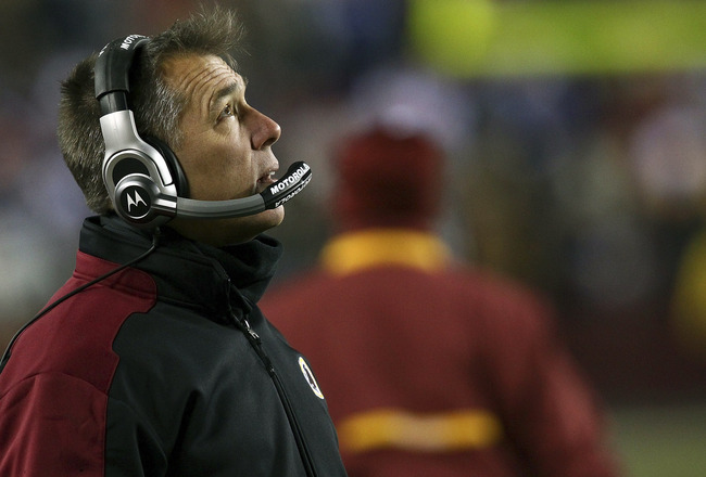 LANDOVER, MD - DECEMBER 21:  Washington Redskins Head Coach Jim Zorn looks on during a loss to the New York Giants at FedExField on December 21, 2009 in Landover, Maryland. The Giants beat the Redskins 45-12.  (Photo by Win McNamee/Getty Images)