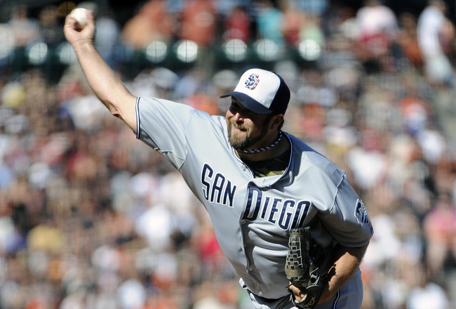 SAN FRANCISCO, CA - JULY 4: Heath Bell #21 of the San Diego Padres pitches against the San Francisco Giants in the ninth inning during a MLB baseball game at AT&T Park July 4, 2011 in San Francisco, California. The Padres won the game 5-3. (Photo by Thear