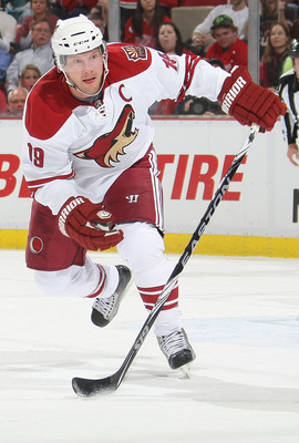 DETROIT, MI- APRIL 13:  Shane Doan #19 of the Phoenix Coyotes skates against the Detroit Red Wings in Game One of the Western Conference Quarterfinals during the 2011 NHL Stanley Cup Playoffs at Joe Louis Arena on April 13, 2011 in Detroit, Michigan.(Phot