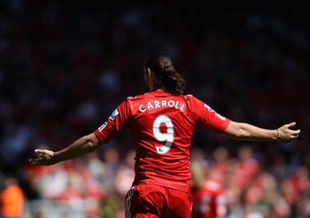 LIVERPOOL, ENGLAND - MAY 01:  Andy Carroll of Liverpool during the Barclays Premier League match between Liverpool  and Newcastle United at Anfield on May 1, 2011 in Liverpool, England.  (Photo by Clive Brunskill/Getty Images)