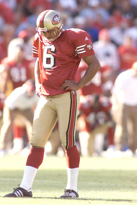 09 Sep 2001: Jose Cortez of the San Francisco 49ers cools down during the game against the Atlanta Falcons at 3Com Park  in San Francisco , California . DIGITAL IMAGE. Mandatory Credit: Jed Jacobsohn/Allsport
