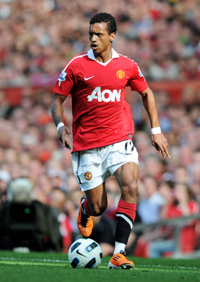 MANCHESTER, ENGLAND - APRIL 09:  Nani of Manchester United in action during the Barclays Premier League match between Manchester United and Fulham at Old Trafford on April 9, 2011 in Manchester, England.  (Photo by Michael Regan/Getty Images)