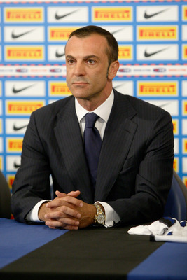 MILAN, ITALY - JUNE 15: FC Internazionale Milano Chief Technical Area Marco Branca  attends a press conference held at La Pinetina on June 15, 2010 in Milan, Italy. (Photo by Vittorio Zunino Celotto/Getty Images)