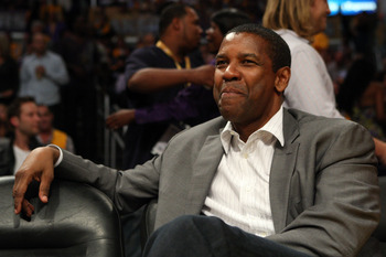 LOS ANGELES, CA - JUNE 04:  Actor Denzel Washington attends Game One of the 2009 NBA Finals between the Los Angeles Lakers and the Orlando Magic in  at Staples Center on June 4, 2009 in Los Angeles, California. NOTE TO USER: User expressly acknowledges an