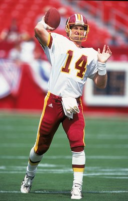 3 Sep 2000: Brad Johnson #14 of the Washington Redskins passes the ball in practice before the game against the Carolina Panthers at the FedEx Field in Landover, Maryland. The Redskins defeated the Panthers 20-17.Mandatory Credit: Ezra O. Shaw  /Allsport