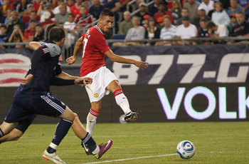 FOXBORO, MA - JULY 13:  Federico Macheda #27 of the Manchester United scores the second of two goals during a friendly match against the New England Revolution during a friendly match at Gillette Stadium on July 13, 2011 in Foxboro, Massachusetts. (Photo