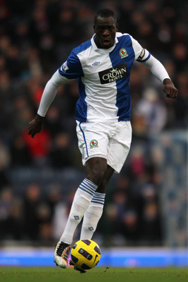 BLACKBURN, ENGLAND - DECEMBER 18:  Christopher Samba of Blackburn in action during the Barclays Premier League match between Blackburn Rovers and West Ham United at Ewood park on December 18, 2010 in Blackburn, England.  (Photo by Dean Mouhtaropoulos/Gett