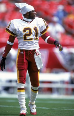 3 Sep 2000: Deion Sanders #21 of the Washington Redskins walks on the field during the game against the Carolina Panthers at the FedEx Field in Landover, Maryland. The Redskins defeated the Panthers 20-17.Mandatory Credit: Ezra O. Shaw  /Allsport