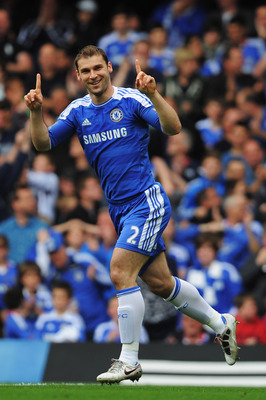 LONDON, ENGLAND - MAY 15:  Branislav Ivanovic of Chelsea celebrates after scoring during the Barclays Premier League match between Chelsea and Newcastle United at Stamford Bridge on May 15, 2011 in London, England.  (Photo by Michael Regan/Getty Images)