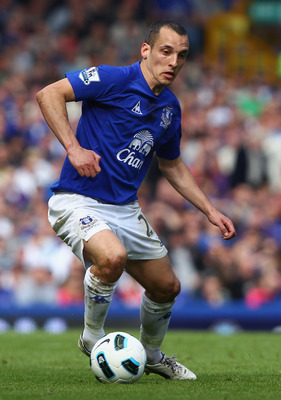 LIVERPOOL, ENGLAND - APRIL 16:  Leon Osman of Everton in action during the Barclays Premier League match between Everton and Blackburn Rovers at  Goodison Park on April 16, 2011 in Liverpool, England.  (Photo by Clive Brunskill/Getty Images)