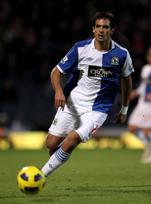 BLACKBURN, ENGLAND - JANUARY 23:  Roque Santa Cruz of Blackburn Rovers in action during the Barclays Premier League match between Blackburn Rovers and West Bromwich Albion at Ewood Park on January 23, 2011 in Blackburn, England.  (Photo by Alex Livesey/Ge
