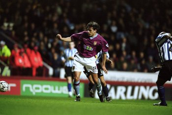 28 Nov 2001:  Bosko Balaban of Aston Villa tries to break through during the Worthington Cup fourth round match against Sheffield Wednesday played at Villa Park, in Birmingham, England. Sheffield Wednesday won the match 1-0. \ Mandatory Credit: Jamie McDo