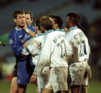 29 Feb 2000:  Chris Sutton of Chelsea loses his temper during the European Champions League game against Olympique De Marseille played in the Stade Velodrome in Marseille, France. The match finished 1-0 to Marseille. \ Mandatory Credit: Ben Radford /Allsp