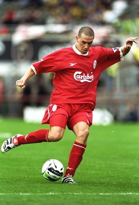 31 Jul 1998:  Sean Dundee of Liverpool in action during the pre-season tournament match against St Patricks Athletic in Dublin, Republic of Ireland. Liverpool won the match 3-2. \ Mandatory Credit: Ross  Kinnaird/Allsport