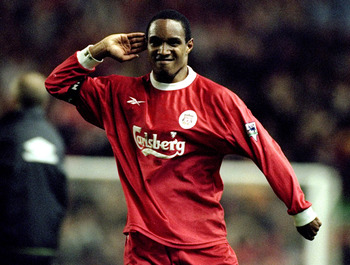 5 May 1999:  Paul Ince of Liverpool gestures toward the crowd after his goal during the FA Carling Premiership match against Manchester United played at Anfield in Liverpool, England. The game ended in a 2-2 draw. \ Mandatory Credit: Ross Kinnaird /Allspo
