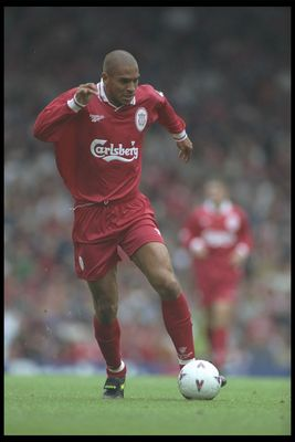 24 Aug 1996:  Stan Collymore of Liverpool in action during the Premier League match between Liverpool and Sunderland at Anfield in Liverpool. Mandatory Credit: Clive Brunskill/Allsport