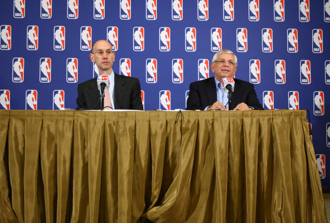 NEW YORK, NY - JUNE 30:  Commissioner of the NBA, David Stern (R) and Adam Silver announce that a lockout will go ahead as NBA labor negotiations break down at Omni Hotel on June 30, 2011 in New York City. The NBA has locked out the players after they wer