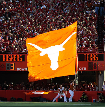 LINCOLN, NE - OCTOBER 16: The Texas Longhorn flag runs across the Nebraska Cornhusker endzone after their final score during second half action of their game at Memorial Stadium on October 16, 2010 in Lincoln, Nebraska. Texas Defeated Nebraska 20-13. (Pho