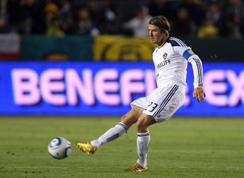 CARSON, CA - JUNE 11:  David Beckham #23 of the Los Angeles Galaxy passes the ball in the second half during the MLS match at The Home Depot Center on June 11, 2011 in Carson, California. Toronto and the Galaxy played to a 2-2 draw.  (Photo by Victor Deco