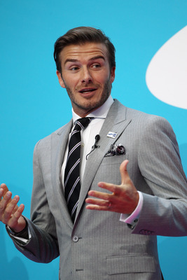 LONDON, ENGLAND - JUNE 13:  Olympic ambassador David Beckham launches Samsung's 2012 Olympic campaign at Canary Wharf on June 13, 2011 in London, England. The event saw the launch of the Olympic Torchbearer nomination campaign and introduced the first off