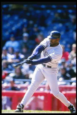 17 Apr 1997: Pitcher Mark Whiten of the New York Yankees swings his bat during a game against the Kansas City Royals at County Stadium in Milwaukee, Wisconsin. The Brewers won the game 5-4.