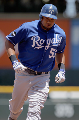 DENVER, CO - JULY 03:  Melky Cabrera #53 of the Kansas City Royals rounds the bases on his solo homerun off of starting pitcher Jason Hammel #46 of the Colorado Rockies in the first inning during Interleague play at Coors Field on July 3, 2011 in Denver,