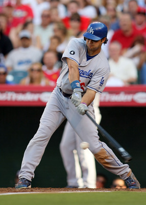 ANAHEIM, CA - JULY 03:  Andre Ethier #16 of the Los Angeles Dodgers grounds out in the top of the third inning during their MLB game against the Los Angeles Angels of Anaheim at Angel Stadium of Anaheim on July 3, 2011 in Anaheim, California.  (Photo by V
