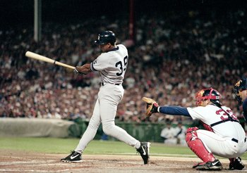 17 Oct 1999:  Darryl Strawberry #39 of the New York Yankees hits the ball during the ALCS game two against the Boston Red Sox at Fenway Park in Boston, Massacusetts. The Yankees defeated the Red Sox 9-2. Mandatory Credit: Jonathan Daniel  /Allsport