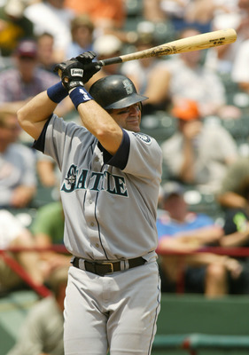 ARLINGTON, TX - JUNE 24: Edgar Martinez #11 of the Seattle Mariners bats during the game against the Texas Rangers at Ameriquest Field in Arlington on June 24, 2004 in Arlington, Texas.  The Rangers defeated the Mariners 9-7.  (Photo by Ronald Martinez/Ge
