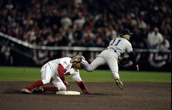 9 Oct 1998:  Infielder Chuck Knoblauch #11 of the New York Yankees in action during the American League Championships Series game against the Cleveland Indians at Jacobs Field in Cleveland, Ohio. The Indians defeated the Yankees 6-1. Mandatory Credit: Jam
