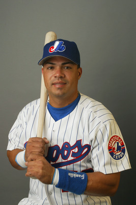 VIERA, FL - FEBRUARY 21:  Jose Vidro of the Montreal Expos poses for a portrait during Media Day at Space Coast Stadium on February 21, 2003 in Viera, Florida. (Photo by Rick Stewart/Getty Images)