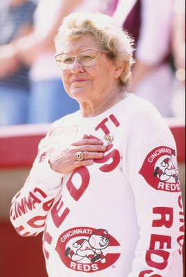 1 Mar 1998:  Cincinnati Reds owner Marge Schott looks on during a spring training game against the Texas Rangers at the Ed Smith Stadium in Sarasota, Florida. The Rangers defeated the Reds 12-9. Mandatory Credit: Tom Hauck  /Allsport