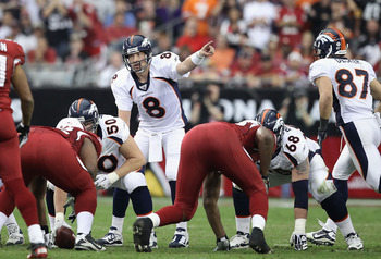 GLENDALE, AZ - DECEMBER 12:  Quarterback Kyle Orton #8 of the Denver Broncos prepares to snap the ball during the NFL game against the Arizona Cardinals at the University of Phoenix Stadium on December 12, 2010 in Glendale, Arizona.  The Cardinals defeate