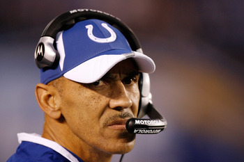 SAN DIEGO - JANUARY 03:  Head Coach Tony Dungy of the Indianapolis Colts stands on the field during the AFC Wild Card Game against the San Diego Chargers on January 3, 2009 at Qualcomm Stadium in San Diego, California.  (Photo by Harry How/Getty Images)