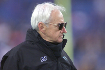09 December 2001: George Seifert Head Coach of the Carolina Panthers, watches his team play against the Buffalo Bills during their game at Ralph Wilson Stadium in Orchard Park, New York. Buffalo won  25-24.  DIGITAL IMAGE. Mandatory Credit: Rick Stewart/A