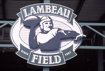 GREEN BAY, WI - AUGUST 26:  Lambeau Field sign during the NFL game between the Cleveland Browns and the Green Bay Packers on August 26, 2002 in Green Bay, Wisconsin. The Packers won 27-20. (Photo by Jonathan Daniel/Getty Images)