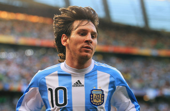 CAPE TOWN, SOUTH AFRICA - JULY 03:  Lionel Messi of Argentina looks on during the 2010 FIFA World Cup South Africa Quarter Final match between Argentina and Germany at Green Point Stadium on July 3, 2010 in Cape Town, South Africa.  (Photo by Chris McGrat