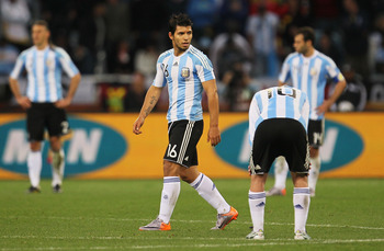 CAPE TOWN, SOUTH AFRICA - JULY 03:  Sergio Aguero of Argentina looks dejected during the 2010 FIFA World Cup South Africa Quarter Final match between Argentina and Germany at Green Point Stadium on July 3, 2010 in Cape Town, South Africa.  (Photo by Chris