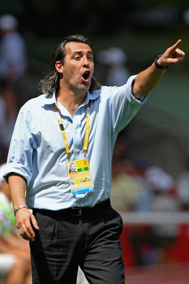 BEIJING - AUGUST 23:  Coach Sergio Batista of Argentina shouts to his team during the Men's Gold Medal football match between Nigeria and Argentina at the National Stadium on Day 15 of the Beijing 2008 Olympic Games on August 23, 2008 in Beijing, China.