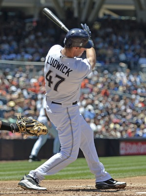 SAN DIEGO, CA - JUNE 29: Ryan Ludwick #47 of the San Diego Padres hit an RBI double during the third inning of a baseball game against the Kansas City Royals at Petco Park on June 29, 2011 in San Diego, California.  (Photo by Denis Poroy/Getty Images)