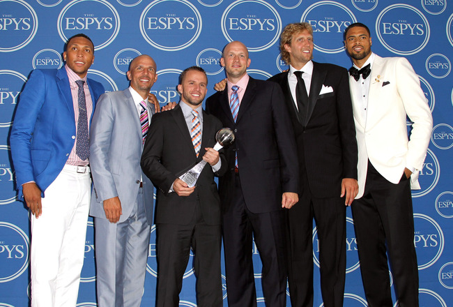 LOS ANGELES, CA - JULY 13:  NBA Dallas Mavericks Shawn Marion, Jason Kidd, Jose Juan Barea, Dirk Nowitzki and Tyson Chandler poses in the press room at The 2011 ESPY Awards at Nokia Theatre L.A. Live on July 13, 2011 in Los Angeles, California.  (Photo by