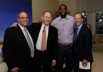 GREENWICH, CT - JULY 08:  (EXCLUSIVE COVERAGE) (L-R) Jim D'Amico, President and CEO of Apollo Group University of Phoenix, Greg Cappelli, Co CEO of Apollo Group University od Phoenix, LeBron James and ESPN's Jim Gray attend the LeBron James Pre Decision M