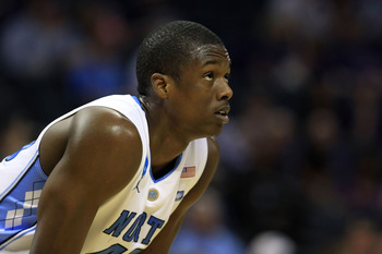 CHARLOTTE, NC - MARCH 18:  Harrison Barnes #40 of the North Carolina Tar Heels looks on in the first half while taking on the Long Island Blackbirds during the second round of the 2011 NCAA men's basketball tournament at Time Warner Cable Arena on March 1