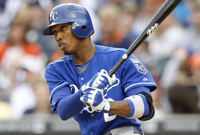 DETROIT, MI - MAY 14: Alcides Escobar #2 of the Kansas City Royals bats during the fifth inning of the game against the Detroit Tigers at Comerica Park on May 14, 2011 in Detroit, Michigan. The Tigers defeated the Royals 3-0.  (Photo by Leon Halip/Getty I