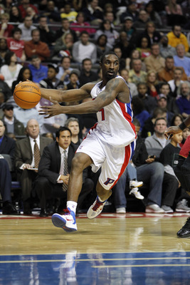 AUBURN HILLS, MI - FEBRUARY 11: Ben Gordon #7 of the Detroit Pistons drives to the basket while playing the Miami Heat at The Palace of Auburn Hills on February 11, 2011 in Auburn Hills, Michigan. Miami won the game 106-92.  (Photo by Gregory Shamus/Getty
